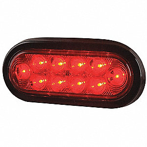 "Stop/Turn/Tail Light,Oval,Red,6-3/8"" L"