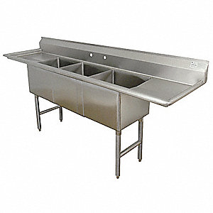 Stainless Steel Scullery Sink, Without Faucet, 16 Gauge, Splash Mounting Type