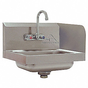 "Stainless Steel Wall Bathroom Sink Without Faucet, 10"" x 14"" Bowl Size"