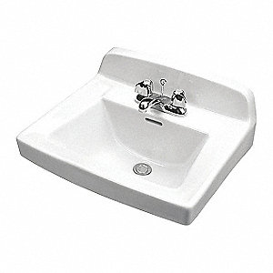 "Vitreous China Wall Hung Lavatory Sink Without Faucet, 15"" x 10"" Bowl Size"