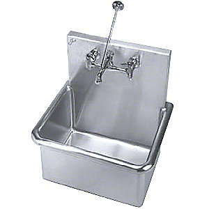 "Wall-Mount Bathroom Sink Bowl,  Stainless Steel, 18-1/2""L x 23""W x 12""H"