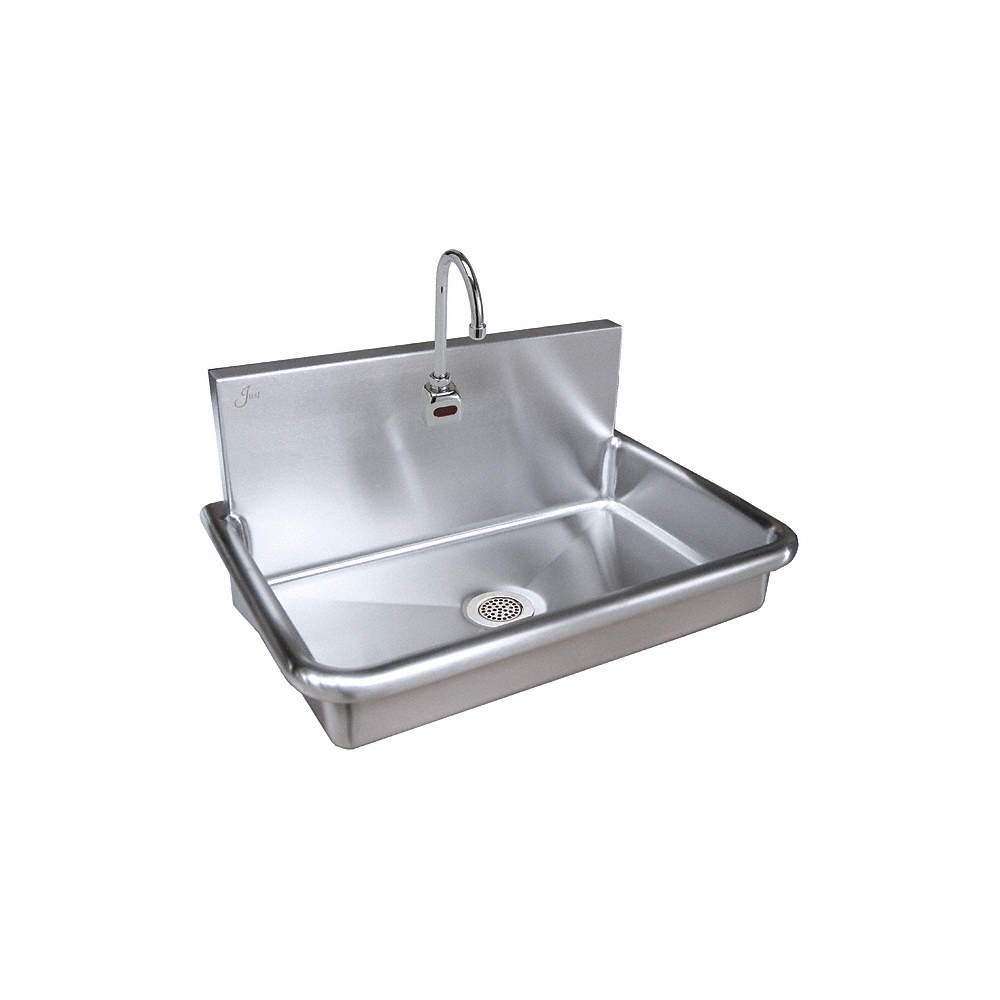 Stainless Steel Bathroom Sinks. Zoom Out Reset  Put photo at full zoom then double click JUST MANUFACTURING Sink SS 20inL x 26inW 13 3 4inH 18 ga