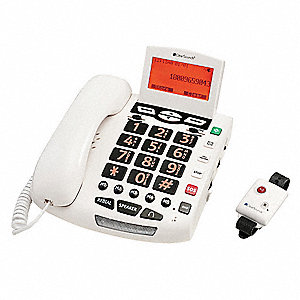Plastic Telephone, White; For Land Line Service