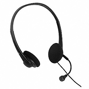 Plastic Telephone Headset, Black; For 2.5mm Audio/Hands Free Jack