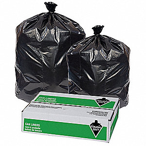 42 gal. Black Trash Bags, Super Heavy Strength Rating, Coreless Roll, 100 PK