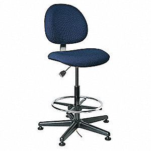 "Fabric Ergonomic Chair with 23"" to 33"" Seat Height Range and 300 lb. Weight Capacity, Navy"