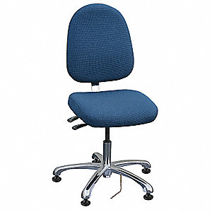 "Fabric Ergonomic Chair with 15-1/2"" to 21"" Seat Height Range and 300 lb. Weight Capacity, Navy"