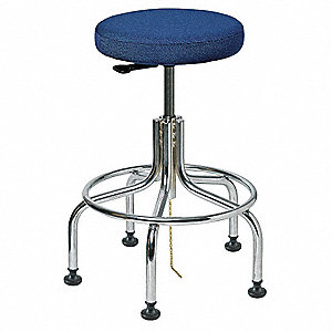ESD Fabric ESD Backless Pneumatic Stool with 300 lb. Weight Capacity, Navy Blue
