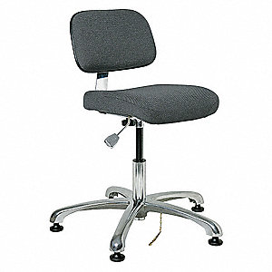 "Fabric Ergonomic Chair with 15-1/2"" to 21"" Seat Height Range and 300 lb. Weight Capacity, Gray"