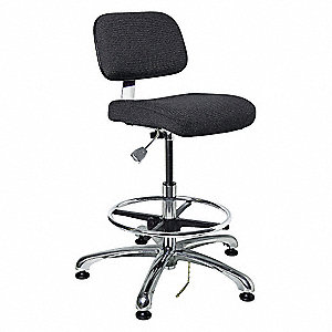 "Fabric Ergonomic Chair with 19"" to 26-1/2"" Seat Height Range and 300 lb. Weight Capacity, Black"