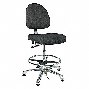 "Fabric Ergonomic Chair with 19"" to 26-1/2"" Seat Height Range and 300 lb. Weight Capacity, Gray"