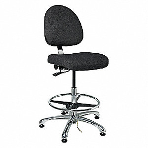 "Fabric Ergonomic Chair with 21-1/2"" to 31-1/2"" Seat Height Range and 300 lb. Weight Capacity, Black"
