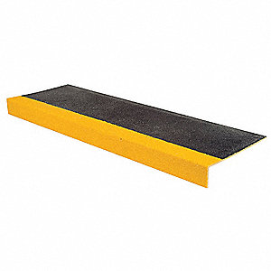 Yellow/Black, Plastic/Fiberglass Stair Tread Cover, Installation Method: Adhesive or Fasteners, Squa