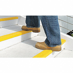 Yellow, Plastic/Fiberglass Stair Nosing, Installation Method: Adhesive or Fasteners, Square Edge Typ
