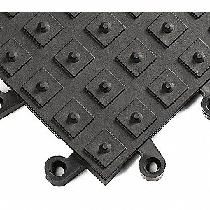 Interlocking Antifatigue Mat, PVC, Black, 10 PK