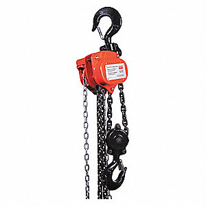 "Manual Chain Hoist, 6000 lb. Load Capacity, 20 ft. Hoist Lift, 1-29/64"" Hook Opening"