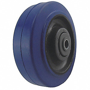 "4"" Caster Wheel, 250 lb. Load Rating, Wheel Width 1-1/4"", Rubber, Fits Axle Dia. 3/8"""