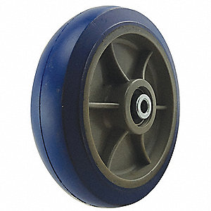 "6"" Caster Wheel, 600 lb. Load Rating, Wheel Width 2"", Rubber, Fits Axle Dia. 1/2"""