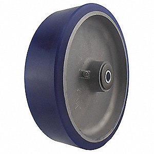 "8"" Caster Wheel, 1500 lb. Load Rating, Wheel Width 2"", Polyurethane, Fits Axle Dia. 1/2"""