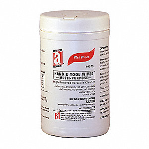 "70 12""L x 9-1/2""W Hand Cleaning Wipes, 1 EA"