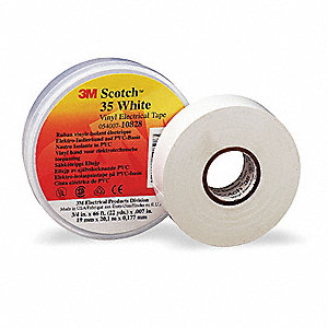 "Vinyl Electrical Tape, Rubber Tape Adhesive, 7.00 mil Thick, 3/4"" X 66 ft., White, 1 EA"