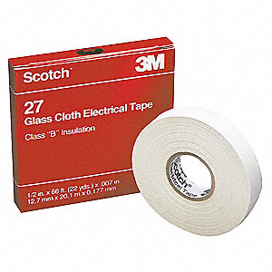 "White Glass Cloth Electrical Tape, 3/4"" Width, 66 ft. Length, 7 mil Thickness"