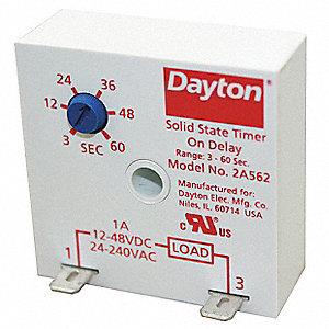 Encapsulated Timer Relay, Function: On Delay, Status Indicator: None, 1A Contact Amp Rating (Resisti