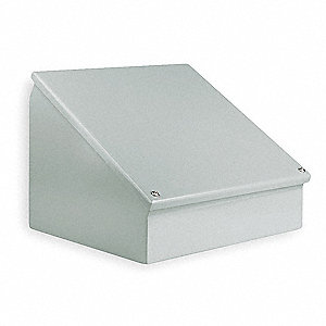 "Carbon Steel Sloped Top Enclosure, 16.00"" Height, 24.00"" Width, 11.00"" Depth"