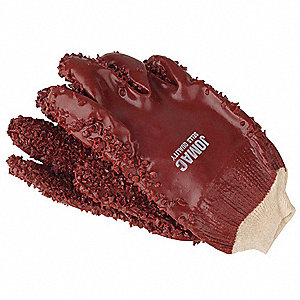 PVC Chemical Resistant Gloves, Interlock Knit Lining, Size L, Brick Red, PR 1