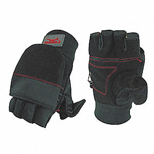 Cold Protection Gloves, Micro Fleece Lining, Fleece Cuff, Black, M, PR 1