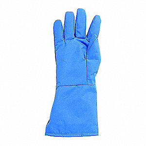 "Mid-Arm Length Water Resistant Cryogenic Gloves, Laminated Nylon, Size L, 14"" Length"