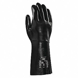 Chemical Resistant Gloves, Standard Weight Thickness, Fleece/Jersey Lining, Black, PR 1
