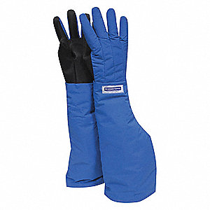 "Shoulder Length Waterproof Cryogenic Gloves, Laminated Nylon, Size L, 26"" Length"