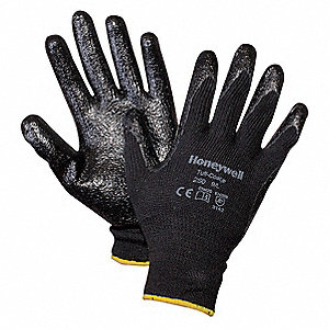Nitrile Coated Gloves, ANSI/ISEA Cut Level 2, Polyester/Cotton Lining, Black/Black, XL, PR 1