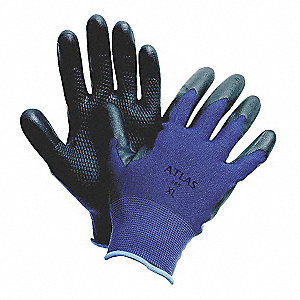 13 Gauge Coated Gloves, Black/Blue