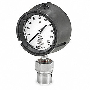 "4-1/2"" Process Pressure Gauge, 0 to 100 psi"