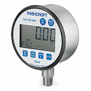 Digital Pressure Gauge,Size 3 In,60 PSI