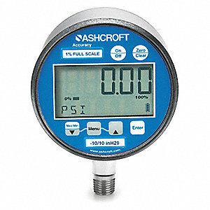 "0 to 100 psi Digital Pressure Gauge with Transmitter, 3"" Dial, 1/4"" MNPT Connection, Metal"