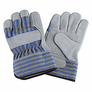 Cowhide Leather Palm Gloves with Safety Cuff, Blue/Green/Gray, XL