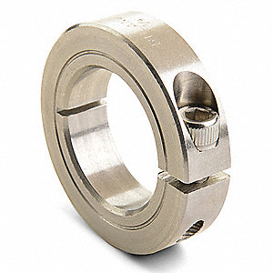 303 Stainless Steel Shaft Collar, Clamp Collar Style, Metric Dimension Type, 25mm Bore Dia.