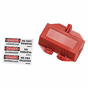 "Plug Lockout, Red, Polypropylene, 2""H x 3-1/2""W x 2""D"