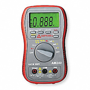 Compact Digital Multimeter, -58° to 1382°F Temp. Range