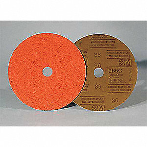 "7"" Fiber Disc, Ceramic, 36 Grit, 7/8"", Coated, 985C, PK100"