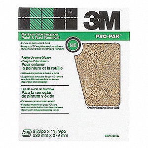 "Medium Aluminum Oxide Sanding Sheet, 60 Grit, 11"" L X 9"" W, Backing Weight : C, 250 PK"
