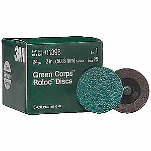 "2"" Quick Change Disc, Aluminum Oxide, TR, 24 Grit, Extra Coarse, Coated, 264F, PK250"