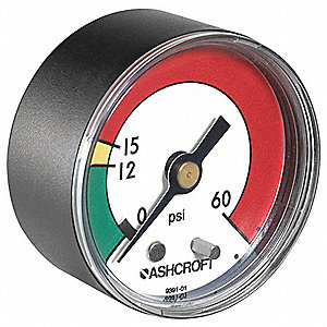 "2"" Test Pressure Gauge, 0 to 60 psi"