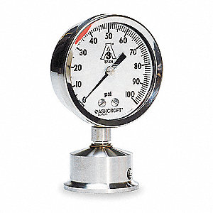 Pressure Gauge,0 to 60 psi,3-1/2In,2In