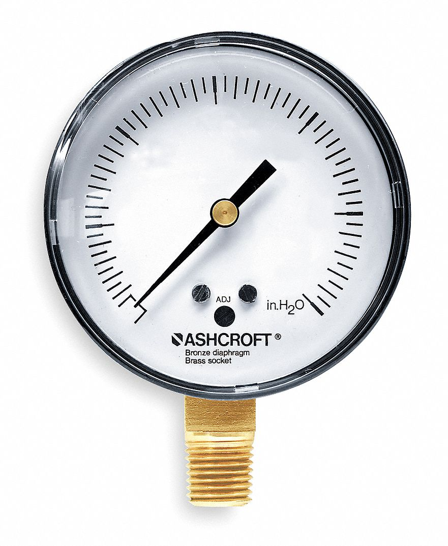 Pressure Gauge,  0 to 5 psi Range,  1/4 in MNPT,  +/-1.00% Gauge Accuracy
