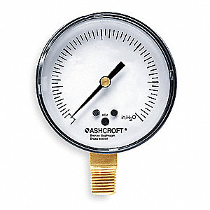 "2-1/2"" Low Pressure Pressure Gauge, 0 to 100 In. H2O"