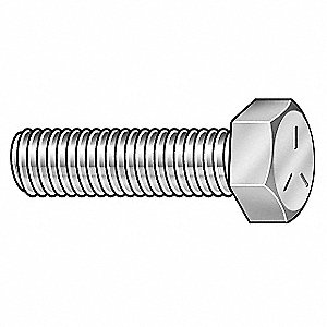 "Grade 5 Hex Head Cap Screw 1/4""-20, 2"" Fastener Length, Zinc Plated Fastener Finish, Steel, PK100"